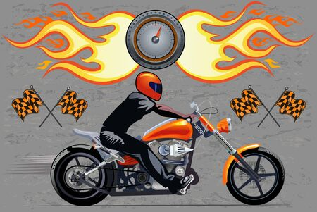 man on the motorbike. vector drawing