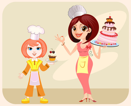 small cake: Big cake and small cake. Chef girl with a delicious cake