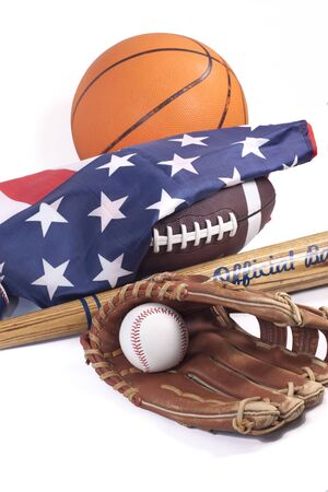 sporting equipment: Baseball and glove with American flag