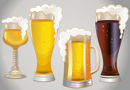 beers: different glasses with different beers on a background