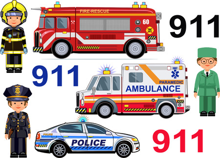 paramedic: Rescue Vehicles: Fire Engine, Ambulance police Cars.  Paramedic  firefighter police officer Illustration