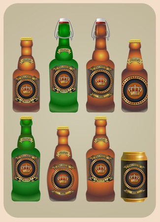 yeast: Different Kinds of Beer Bottles With Labels Illustration