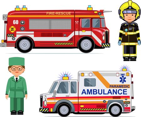 emergency response: Rescue Vehicles: Fire Engine, Ambulance Cars.  Paramedic and firefighter Illustration