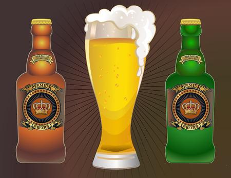 viewfinderchallenge1: Bottle and Mug of beer mug. Vector illustration