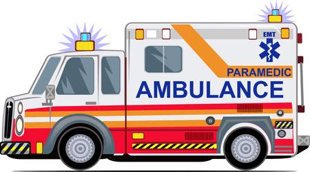 Ambulancia sobre un fondo blanco, Ilustración de vector
