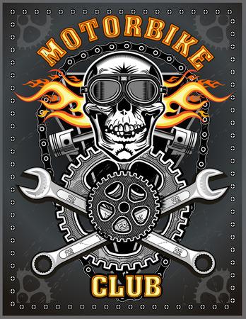 vintage motorcycle club. Skull and piston