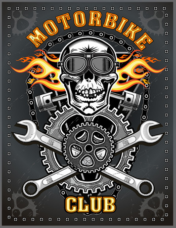 vintage motorcycle club. Skull and piston