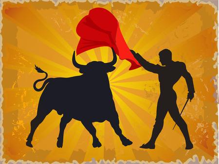 Illustration eines Stiers und ein Matador in Spanien