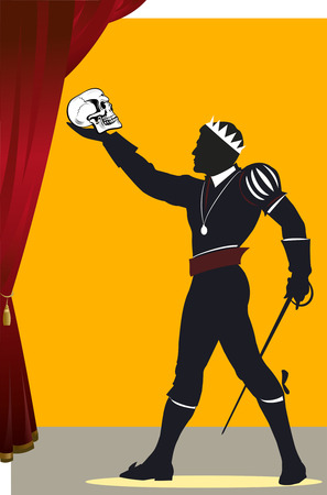 hamlet: Hamlet with a skull in his hand