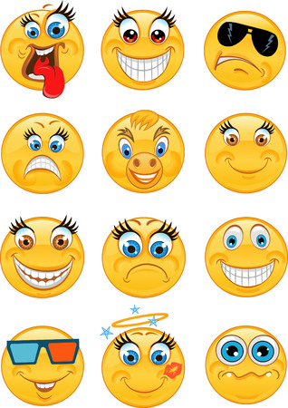teeth white: Emoticon Vector style smile face icons