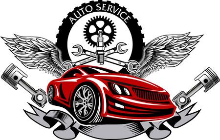 garage automobile: emblème de service de réparation Illustration