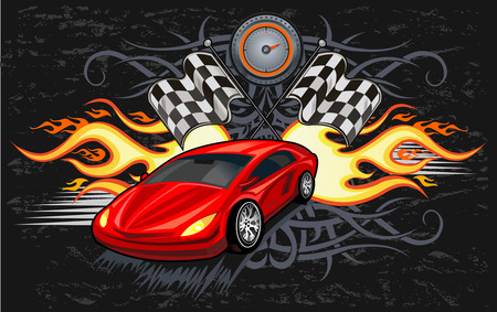Big voiture de sport rouge prêt à commencer la course sur la piste Banque d'images - 55665119