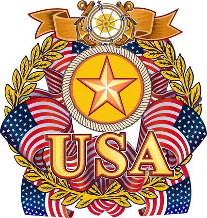 commemorate: US Navy. American Flag Illustration