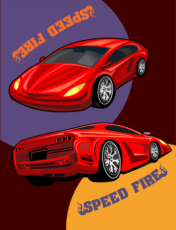 red sports car: Big red sports car ready to start racing on the track. Original design