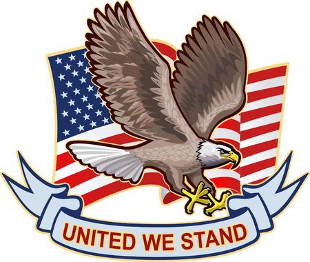 bandera: Águila americana con banderas de EE.UU. Vectores