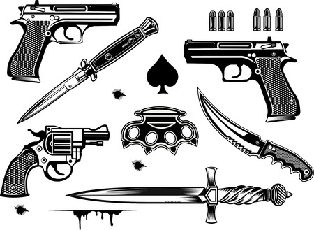 Guns: Pistol and Revolver collection set of Bullet. Bullet Hole. Brass and dagger knife Illustration