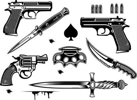 Waffen: Pistole und Revolver Sammlung Satz von Bullet. Einschussloch. Messing und Dolch Messer Vektorgrafik