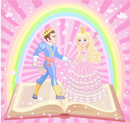 rich couple: Beautiful prince and princess with golden crown and Air Castle