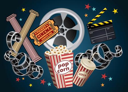 movie film reel: movie film reel and popcorn