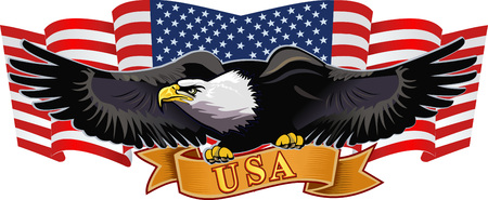 Águila americana con banderas de EE.UU.