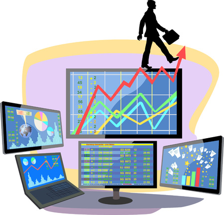 indicator board: Stock market number on screen display