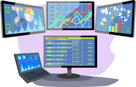 stock price quote: Stock market number on screen display