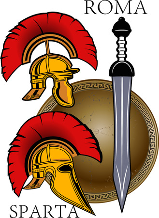 ancient civilization: Sparta and Rome Helmet with sword