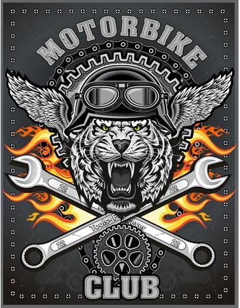 tigre cru étiquette de moto