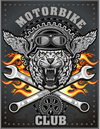 car engine: vintage tiger motorcycle label Illustration