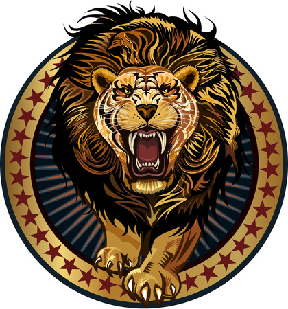 Lion in stars Leo attack Illustration