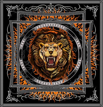 scarves: Lion attack. Design shawls, scarves, blankets, pillows, shirts