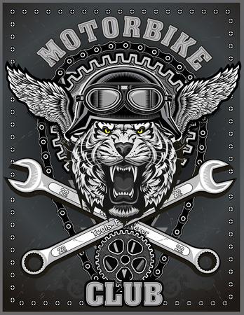 vintage tiger motorcycle label 일러스트