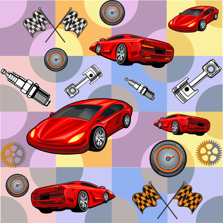 red sports car: Pattern Big red sports car ready to start racing on the track. Original design