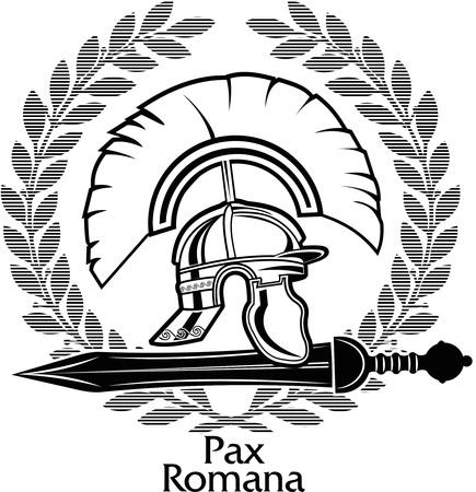 gladiatorial: Roman Gladius short sword and helmet