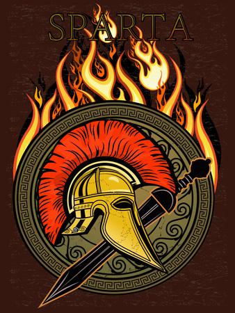 ancient civilization: Sparta Helmet with sword