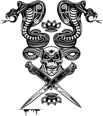 cobra snake: Snake Tattoo Cobra Skull and Dagger Illustration