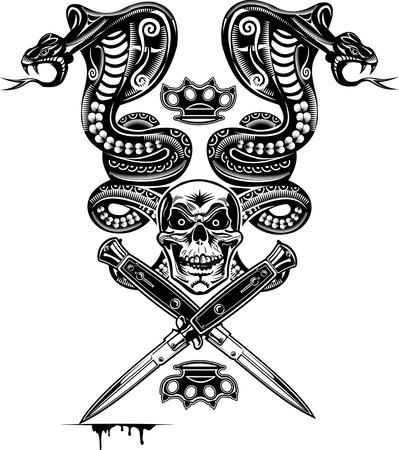serpiente caricatura: Tatuaje de la serpiente Cobra Skull and Dagger Vectores