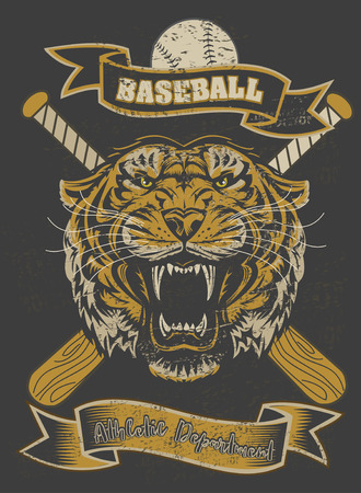 classic tattoo: Tiger Face Baseball bat and Ball Illustration