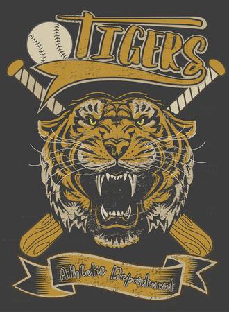 pelota beisbol: Bate de béisbol y bola de la cara del tigre Vectores