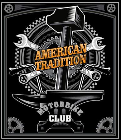 wicca: Vintage motorcycle label Thors Hammer Illustration