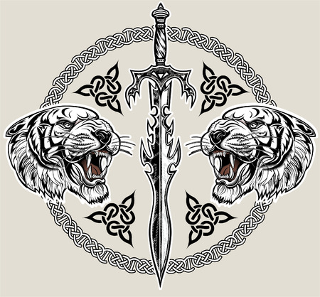 Saber-toothed tiger. 矢量图片
