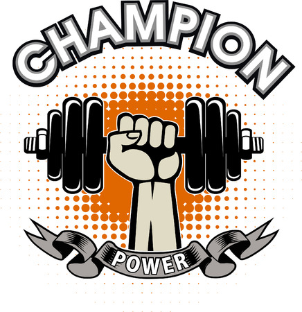 Weightlifting power sport. Fitness gym Illustration