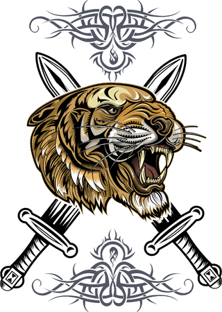 tattoo Saber toothed tiger Illustration