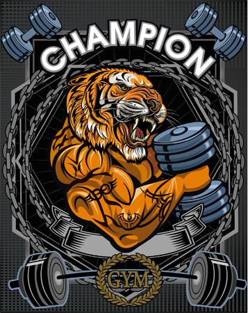 saber tooth: Saber toothed tiger. Weightlifting power sport. Fitness gym Illustration
