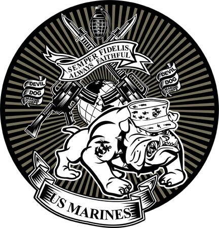 Military Bulldog and crossing rifles. Illustration