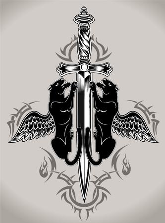Black panther Tatoo Knife