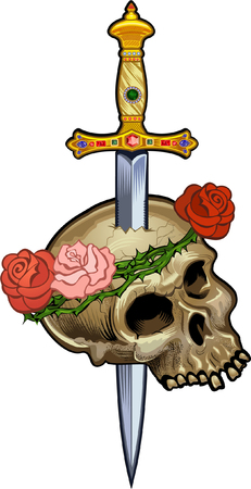 Vintage label. Skull and knife. Illustration