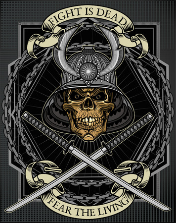 samurai skull Illustration