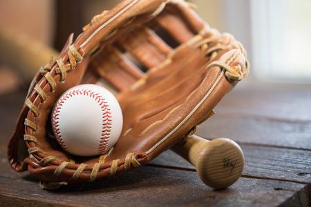 baseball bat, ball and glove Stock Photo