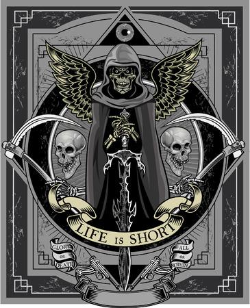 Skull and Sword. Life is Short Illustration